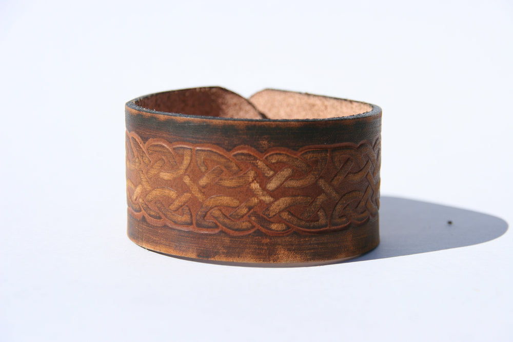 Distressed Celtic Design Leather Cuff
