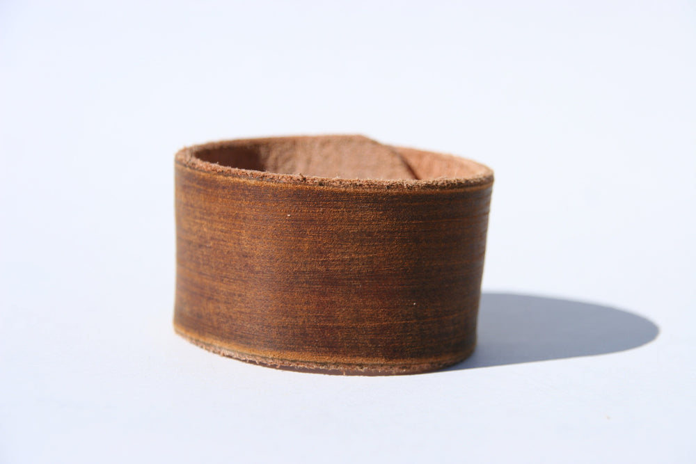 Distressed Brown Leather Cuff