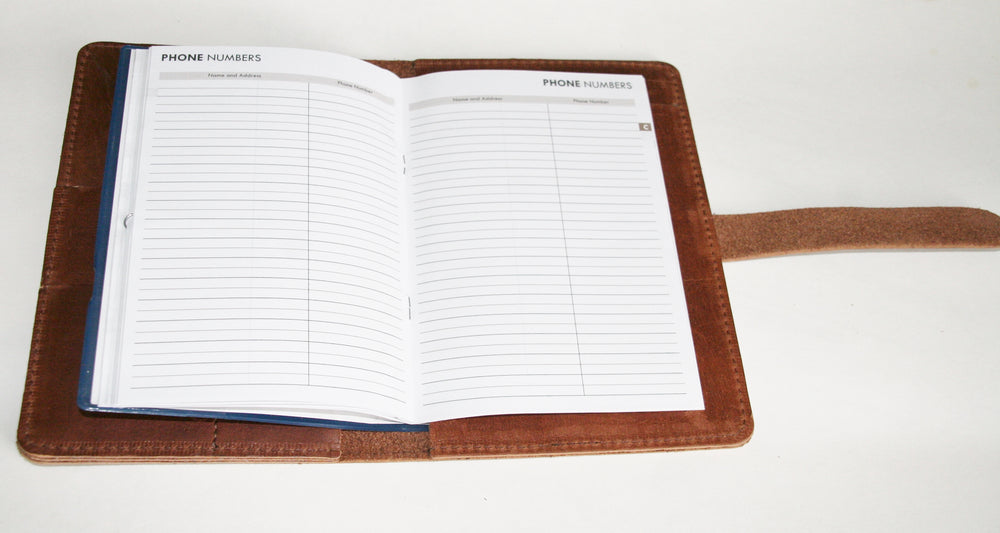 Leather planner open