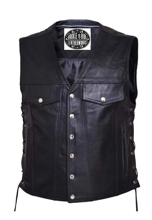 Jean pocket black leather vest is made from premium buffalo hide leather. It has four exterior front pockets and two inside conceal carry pockets. It has a solid panel back and laces up the sides. Available for purchase in our shop in Smyrna, TN, just outside Nashville and comes in sizes small through 5xl.