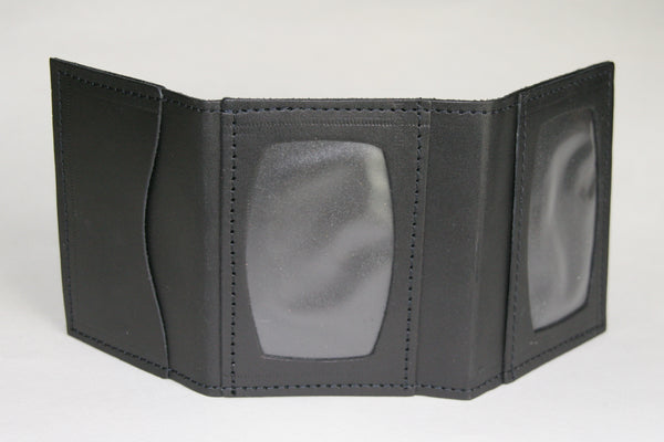 Minimal trifold wallet black outside