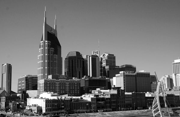 Nashville, TN skyline black and white