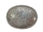 "This oval shaped buckle by Nocona has a rope design around the border. It is chrome colored with scroll design etched appearance on surface.  Measures 2 3/4"" tall by 3 3/4"" wide and fits belts up to 1 1/2"" wide.  It is available for purchase in our retail shop in Smyrna, TN, just outside Nashville and also on our online store. Made in Taiwan."