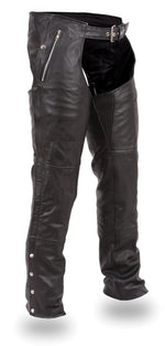 premium black leather motorcycle riding chaps with snap out inside lining, 2 deep front pockets on either side, one with zipper and one snapped. Lace adjustment panel on back of waist. Sturdy zipper runs down each leg from hip to just below the knee, snaps run the rest of the way to the bottom. Available in sizes XS-5X in our Smyrna, TN shop just outside of Nashville.