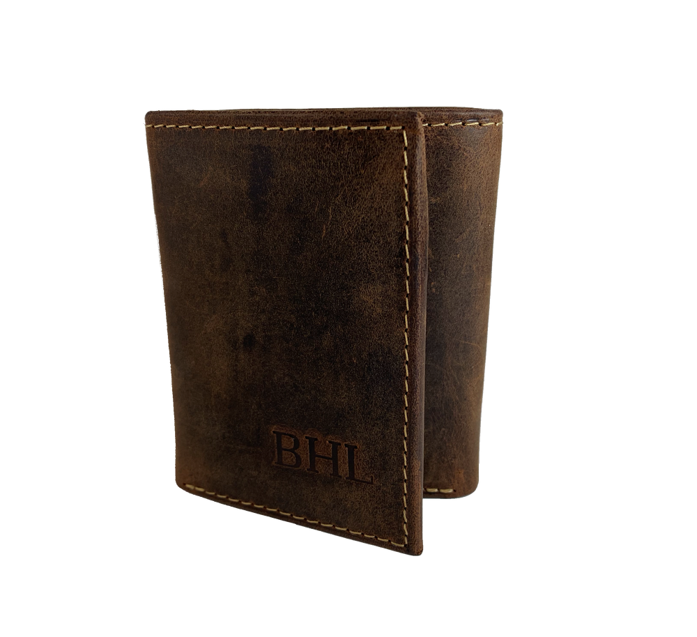 Distressed Leather RFID Tri-Fold with I.D. flap