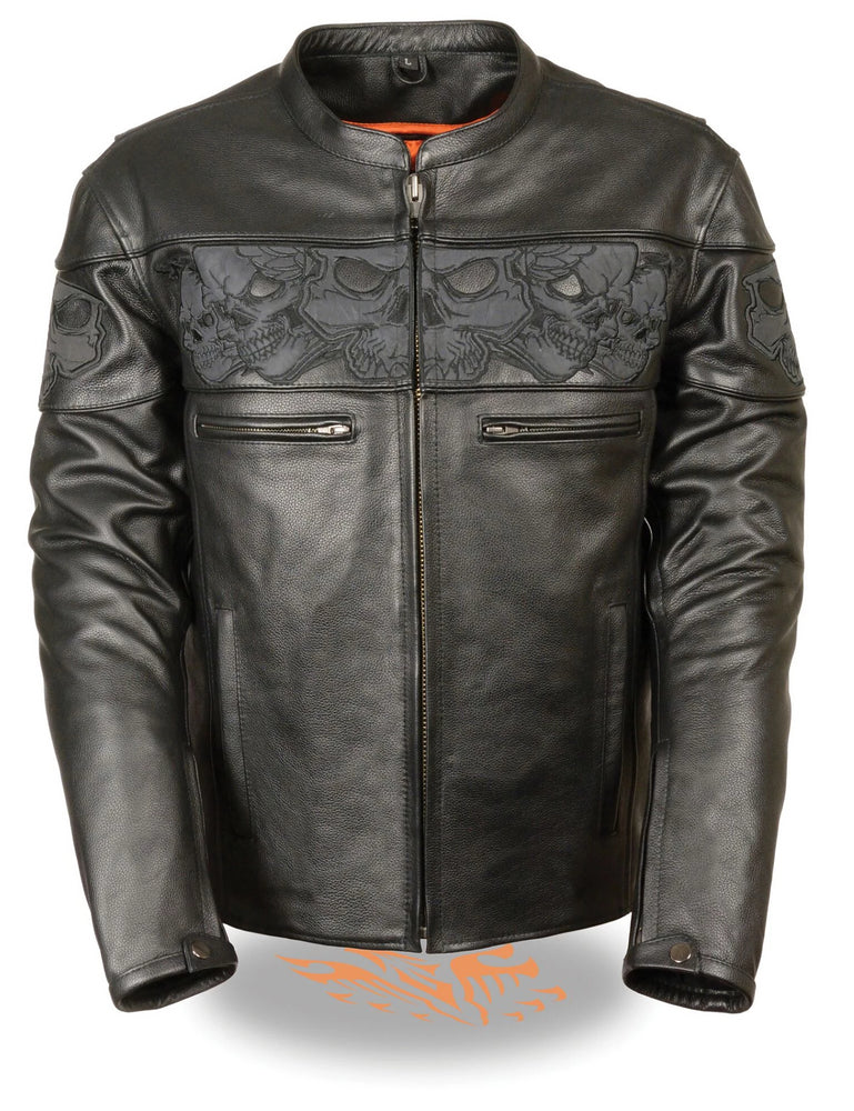 This heavy cowhide black leather motorcycle riding jacket has band of reflective skulls around the upper torso. It comes in sizes small through 5x and is available for purchase in our shop in Smyrna, TN, just outside Nashville.  It has multiple zippered pockets and vents and a zip out liner. It has a tab collar and zippered front closure.  It also has snaps and zippers at the wrists.