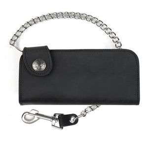 Side Snap Leather Chain Wallet