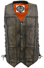 Distressed Brown Leather Vest