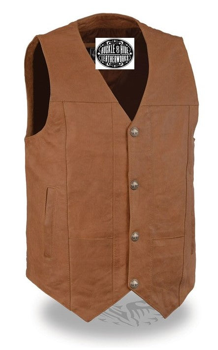 Western style brown leather vest has v-neck and  snap front. It is made from soft cowhide with slightly distressed look.  It has 2 horizontal outside front lower pockets and conceal carry pockets on each inside front, back is stitched panels.  It has a mesh lining. Available for purchase in our shop in Smyrna, TN just outside of Nashville. Available in sizes small through 5x