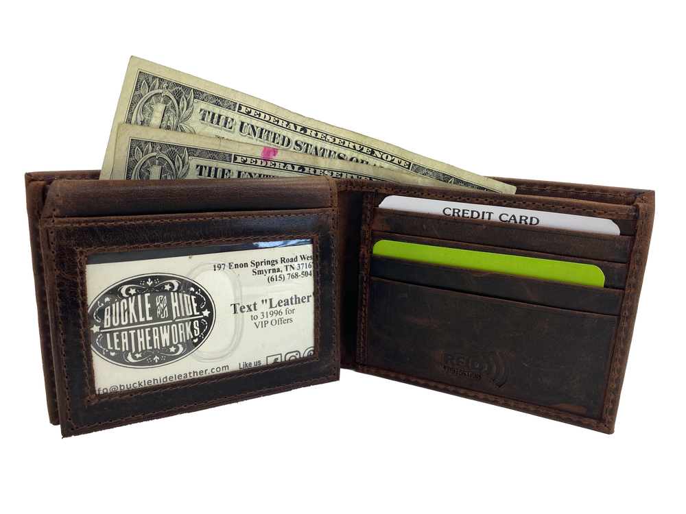 Distressed Leather RFID Bi-Fold with I.D. flap