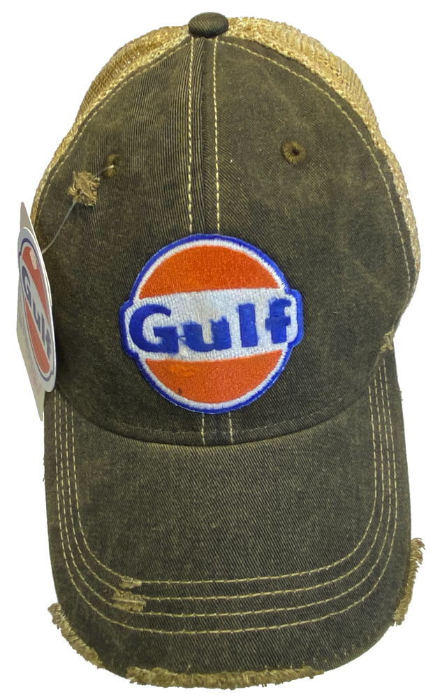 This Vintage looking Gulf Oil cap looks like you found it at a flea market. It has a mesh back that's already beat up and soft.  Unstructured top to give it that broken in look. Sold at our shop just outside Nashville in Smyrna, TN.