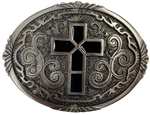 "Pewter belt buckle that may be attached to your belt.  It has a western style oval shape with Black epoxy inlay cross in the center. Fits 1 1/2"" belts, Size 3-1/2"" x 2-3/4. Available in our shop just outside Nashville in Smyrna, TN."