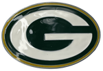 "Oval shaped pewter buckle with green, yellow, and white colored epoxy Green Bay Packers ""G"" logo. Available online or at our shop just outside Nashville in Smyrna, TN.  3 3/4"" long by 2 1/1"" wide. Fits belts up to 1 3/4"" wide."