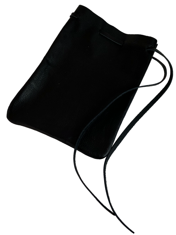 USA Made Large Leather Drawstring Pouch