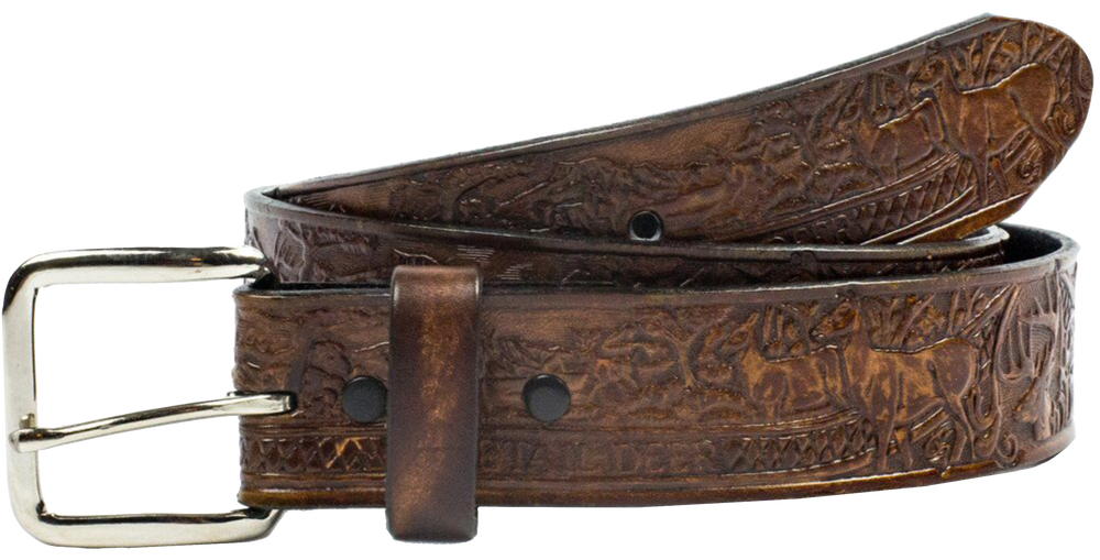 "This USA made veg-tan leather belt is approx. 1/8"" thick, 1 1/2""width with no fillers to split or rip apart. The belt features a Deer Scene around the entire belt. The leather is comfortable from day one   Buckle is snapped on for easy buckle change. We don't make this belt but it's Buckle and Hide approved and still made in the USA. Be very sure of your size since it is NON returnable since we custom size each one, see below instructions. front view"