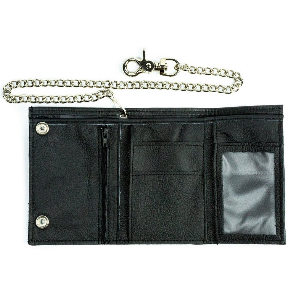 Oversized Leather Trifold Chain Wallet