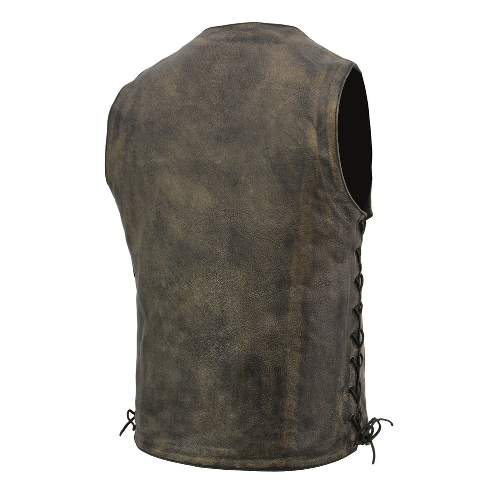 back view of Distressed brown premium cowhide leather riding vest with v-neck and snap front closure. It has side laces and lower front side pockets. It has 6 inside front pockets including conceal carry pockets on either side. The back is a solid panel.  Available in our shop in Smyrna, TN, just outside Nashville in sizes small to 5x
