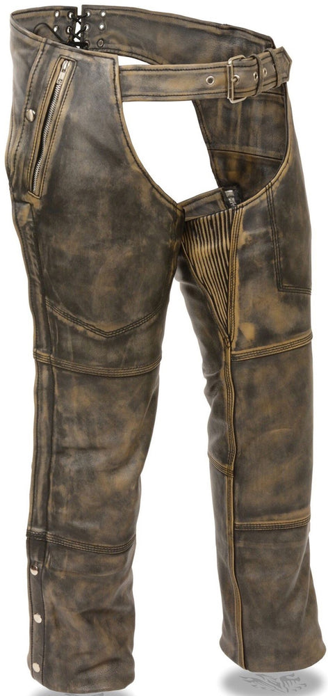 These premium distressed brown leather riding chaps are made from soft, milled naked cowhide leather. They have 2 deep jean style pockets on either side , one with zipper closure and one with snap closure. Snap out liner for changes in weather. There is a stretch panel along inner thigh to help with fit. Heavy side zippers run from hip to just below the knee, snaps run remaining length of leg.  Available in our shop in Smyrna, TN, just outside Nashville.