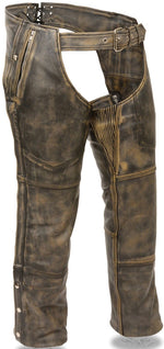 Premium Distressed Brown Leather Chaps