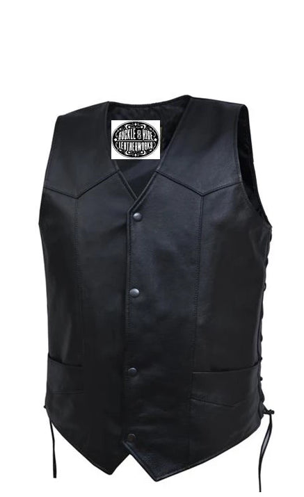 Black Leather Riding Vest with side laces