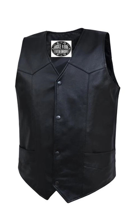 Basic Black Leather Vest