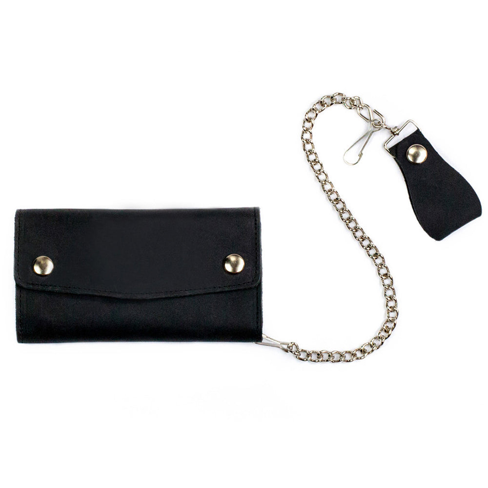 Large Trifold Leather Chain Wallet