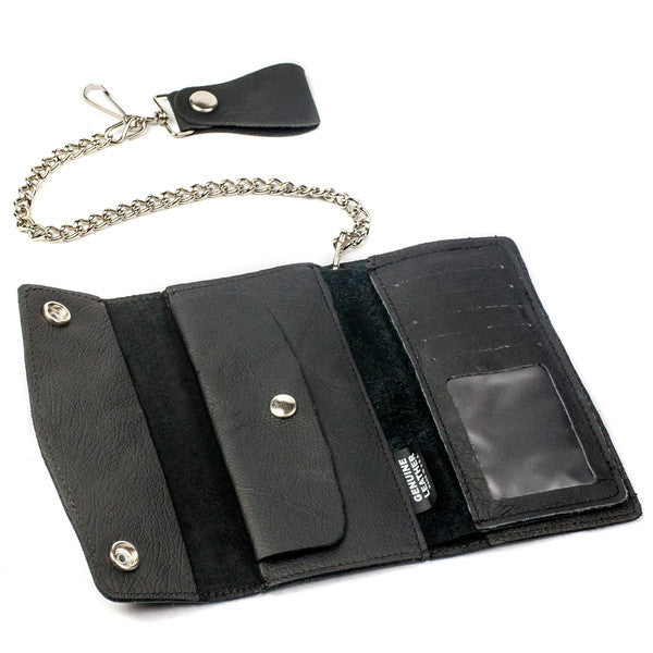 "View of Inside of Large Trifold Black Leather Chain Wallet made in USA. Dimensions are 7"" x10"" when open.  Has 12"" chrome colored chain attached with snap leather strip on end to attach to belt or loops. Inside contains ID and 4 card slots, 2 large pockets and one snap pocket. Ships from leather shop in Smyrna, TN, just outside Nashville"