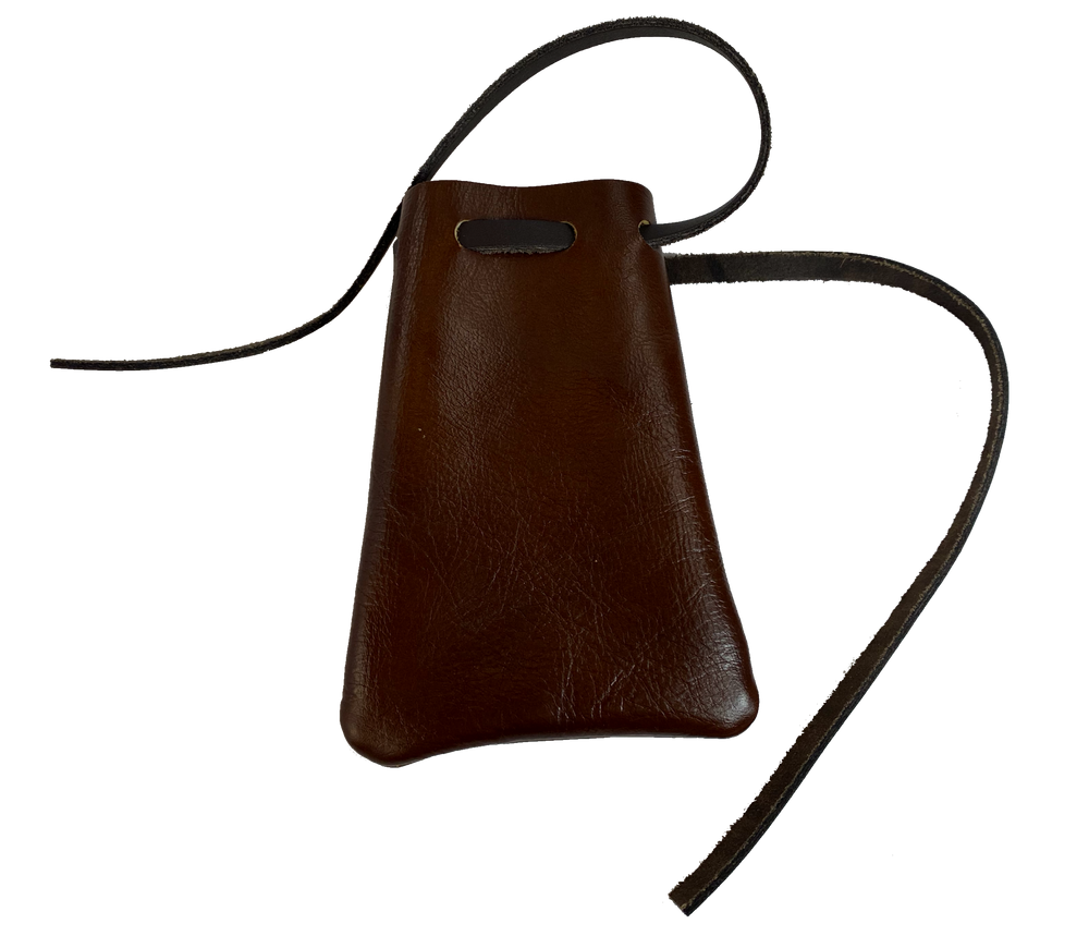 USA Made Leather Drawstring Pouch