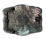 Crumrine buckle with Rope edging with Elk This buckle will look great with your favorite pair of jeans or dress pants.  Measures 2-3/4 x 3-1/2.  Available at our shop just outside Nashville in Smyrna, TN.