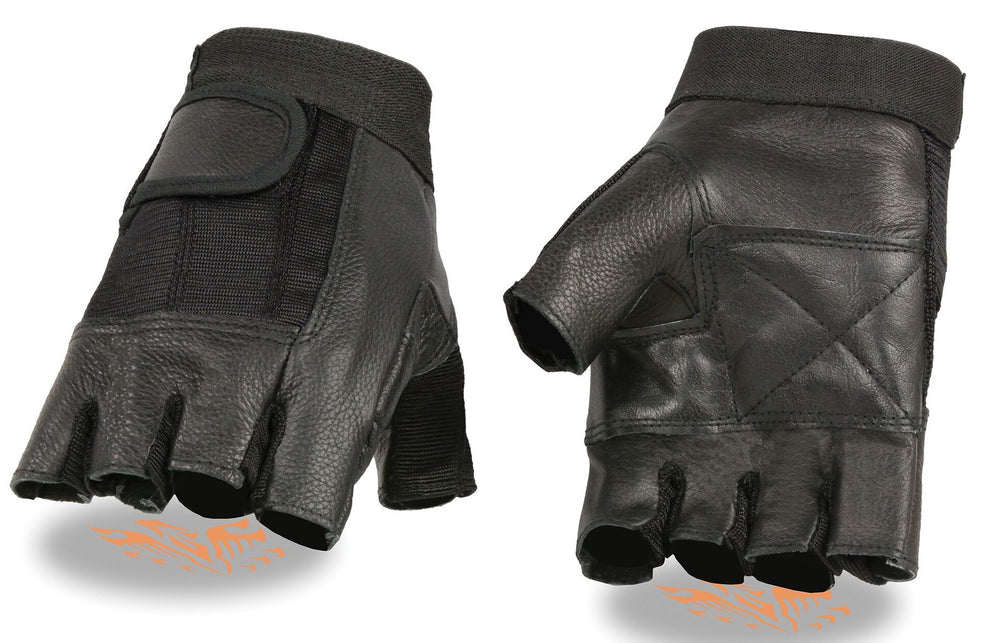 Black Leather and Mesh Fingerless Driving or Motorcycle Riding Gloves have velcro wrist closure and are available in sizes XS-3X in our shop just outside Nashville in Smyrna, TN.