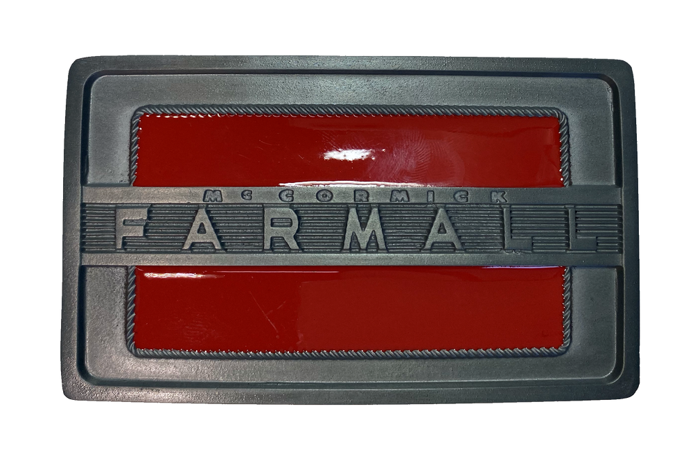 "Licensed Farmall buckle with a rectangle shape is good for most body types without digging in to your mid section. Fits up to 1  1/2"" belts. Dimensions are approx. 3"" tall x 4""wide."