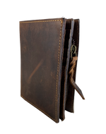 Distressed Brown RFID Bi Fold Card Wallet