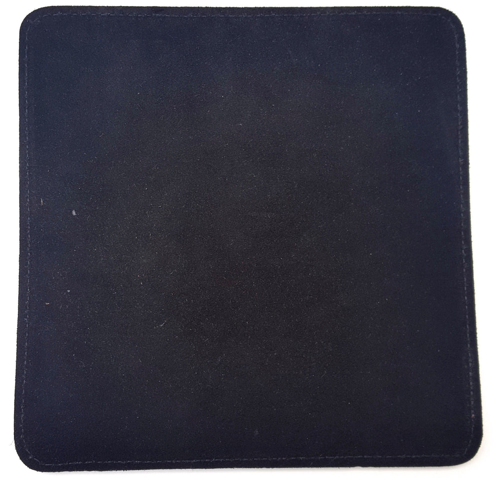 "Deluxe Leather Mouse Pad, This handmade leather mouse pad has black suede leather bottom (shown here) to help prevent slipping of pad on surface.  It is made from leather approx 1/8"" thick and suede is glued and stitched in place.  Size is approx 7 1/2"" x 7 3/4"".  May choose plain or with 1-3 initials stamped in lower right corner. Made in our shop just outside Nashville in Smyrna, TN."