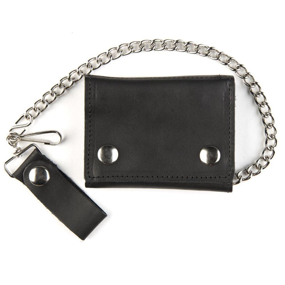 Trifold Chain Leather Wallet with Card slots