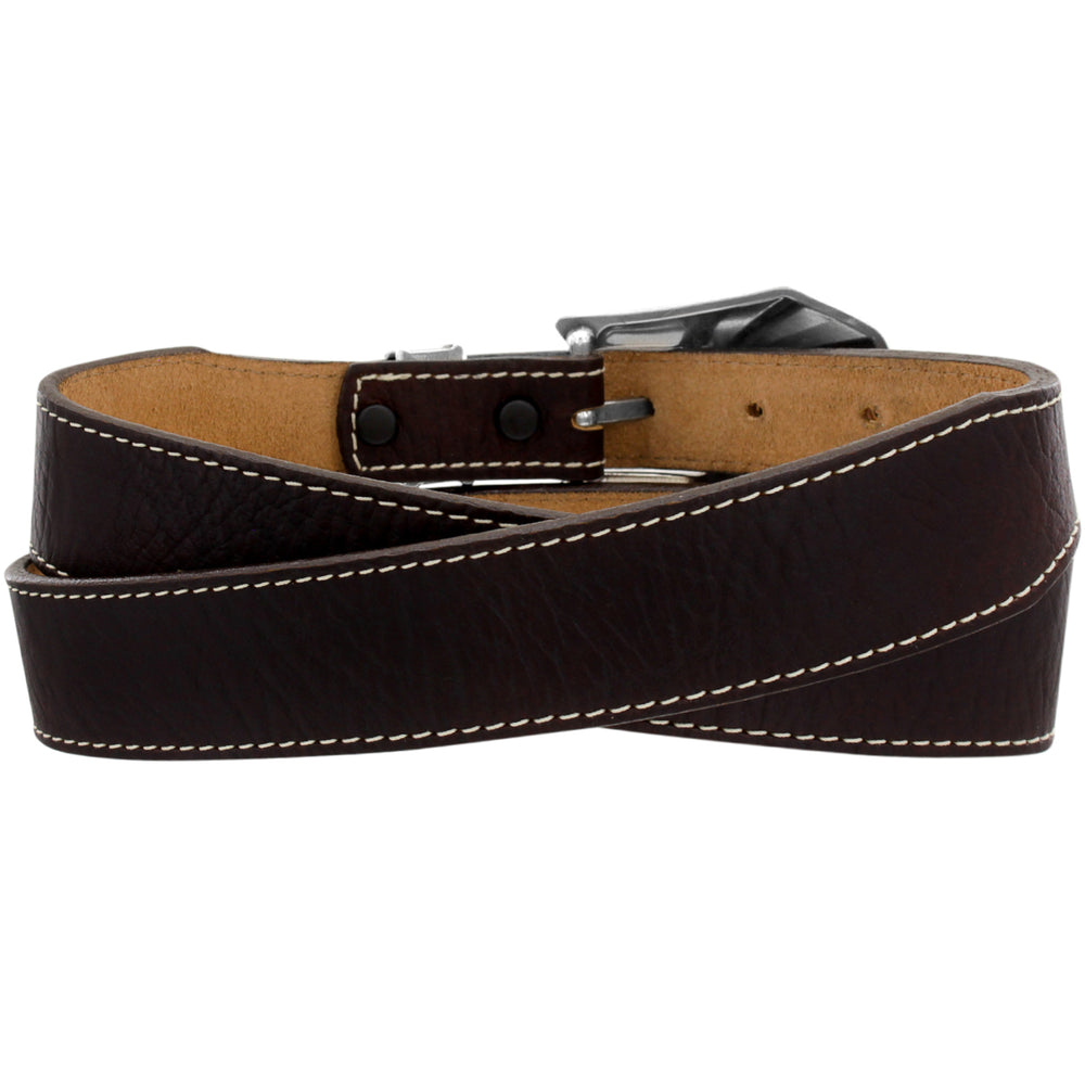 "This real leather belt by Justin is available in our retail store in Smyrna, TN, just outside of Nashville.  This brown leather belt is 1 1/2"" wide, tapering at the buckle end to 1"".  The three piece silver plated buckle set has a gold colored broken arrow pictured along the center and background has scroll design. White stitching is along the sides of the belt. It is handcrafted in USA with imported materials, back of belt pictured"