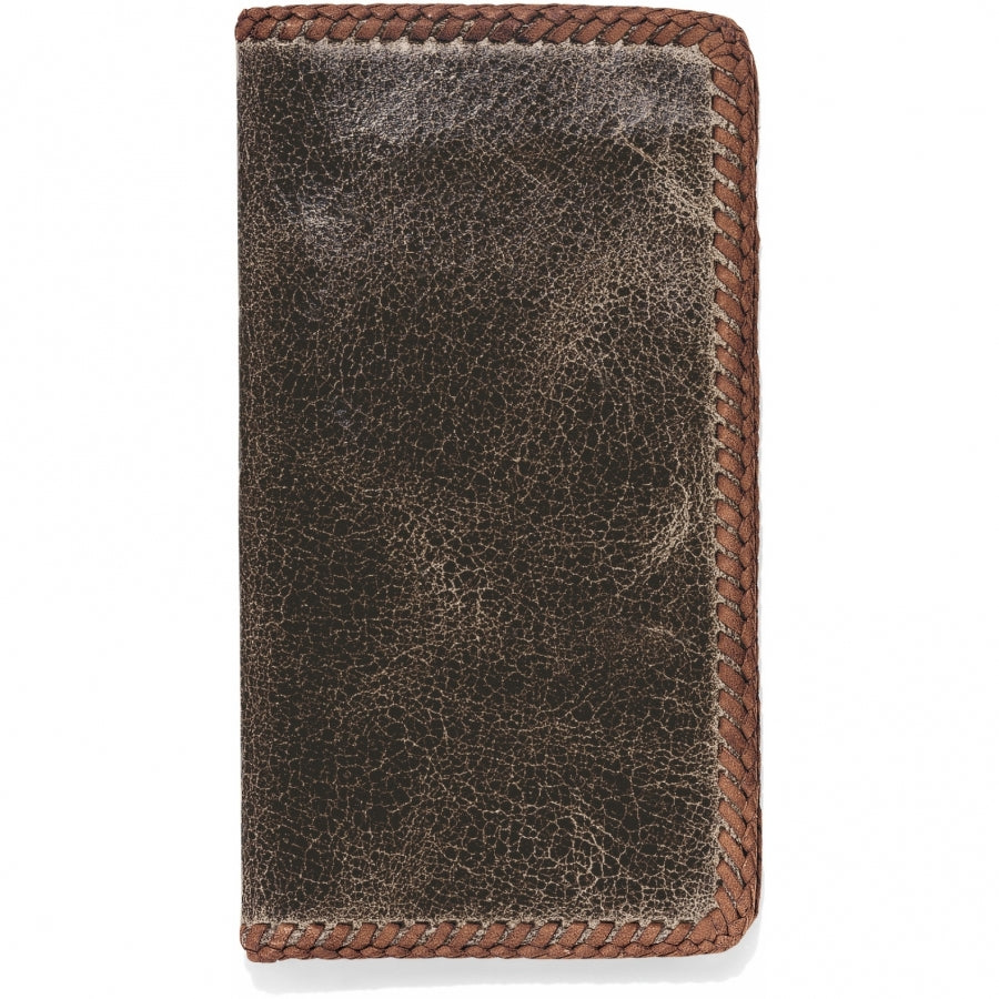 Laced Edge Checkbook Leather Wallet