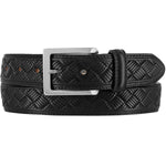 "This black leather dress belt by Brighton has a detailed basket weave pattern embossed on the surface. It has black stitching along the edges and is made from layered leather, no fillers. Width is 1 3/8"".  Squared chrome colored buckle for closure. Available in our retail shop in Smyrna, TN, just outside Nashville.  Made in USA with imported materials."