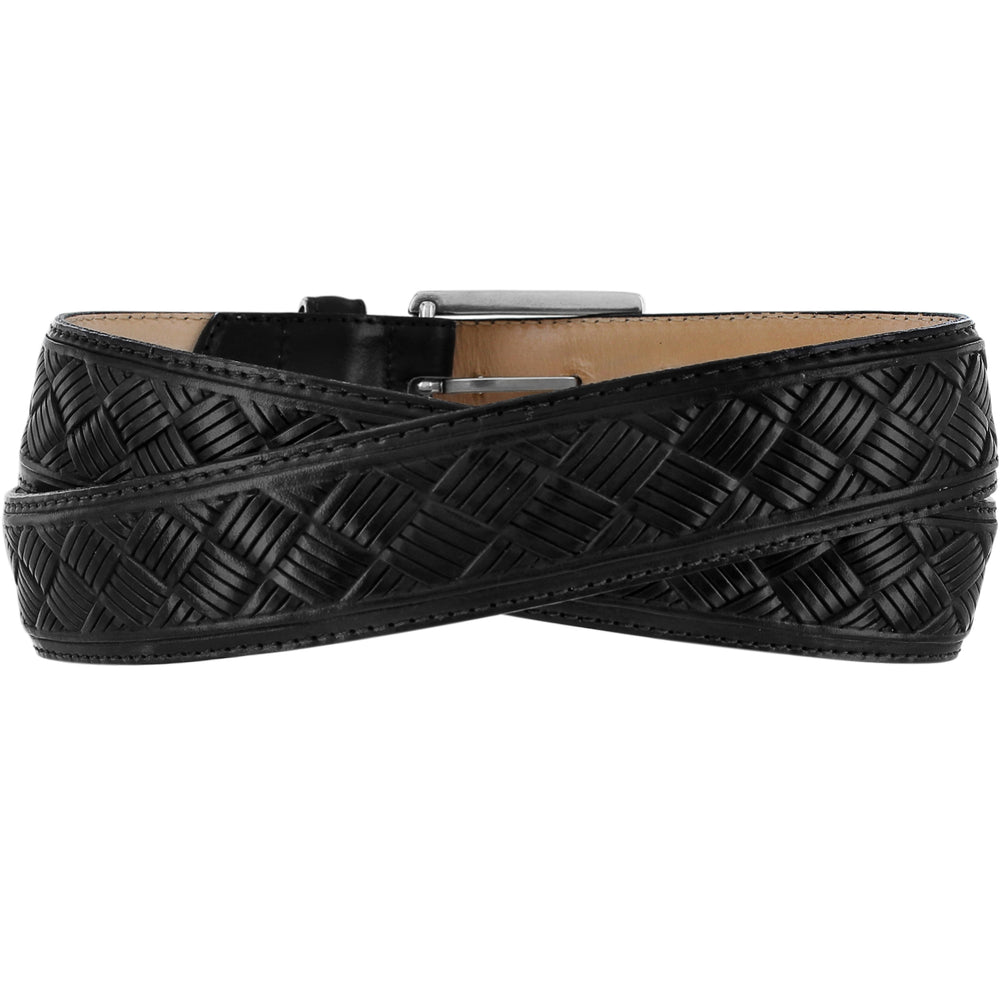 "This black leather dress belt by Brighton has a detailed basket weave pattern embossed on the surface. It has black stitching along the edges and is made from layered leather, no fillers. Width is 1 3/8"".  Squared chrome colored buckle for closure. Available in our retail shop in Smyrna, TN, just outside Nashville.  Made in USA with imported materials, back view"