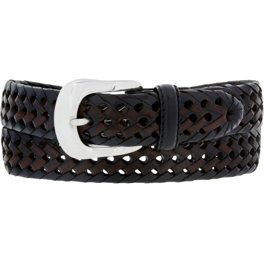 "This woven belt by Brighton is made from brown and black colored narrow leather strips woven together. It is 1 1/8"" wide and has silver colored buckle. Available for purchase in our retail shop in Smyrna, TN, just outside Nashville."