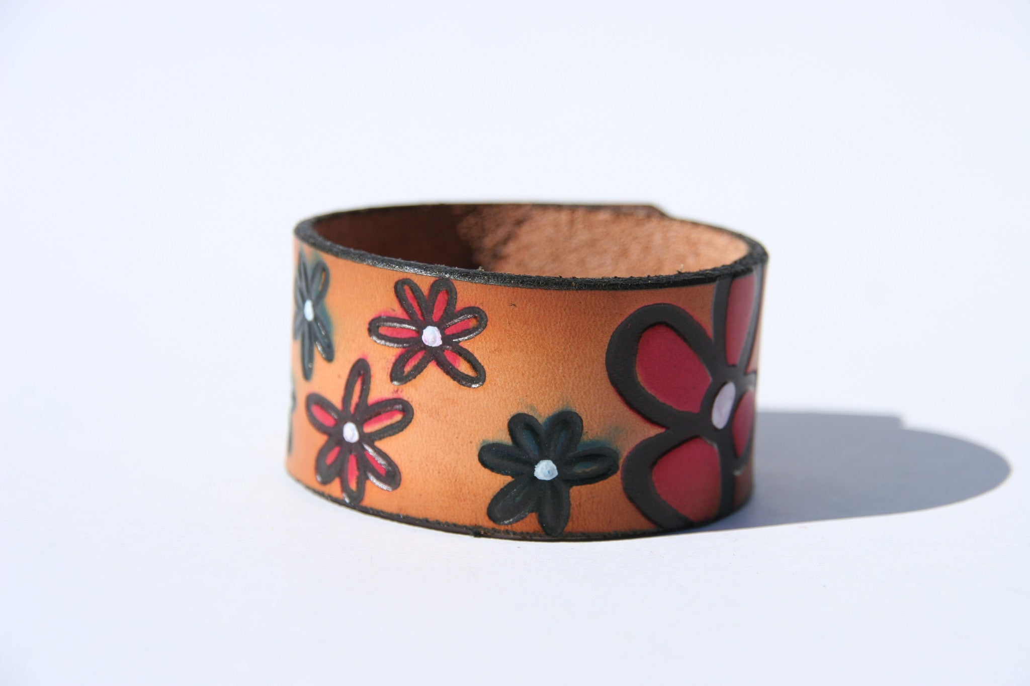 Retro Flowers Leather Cuff