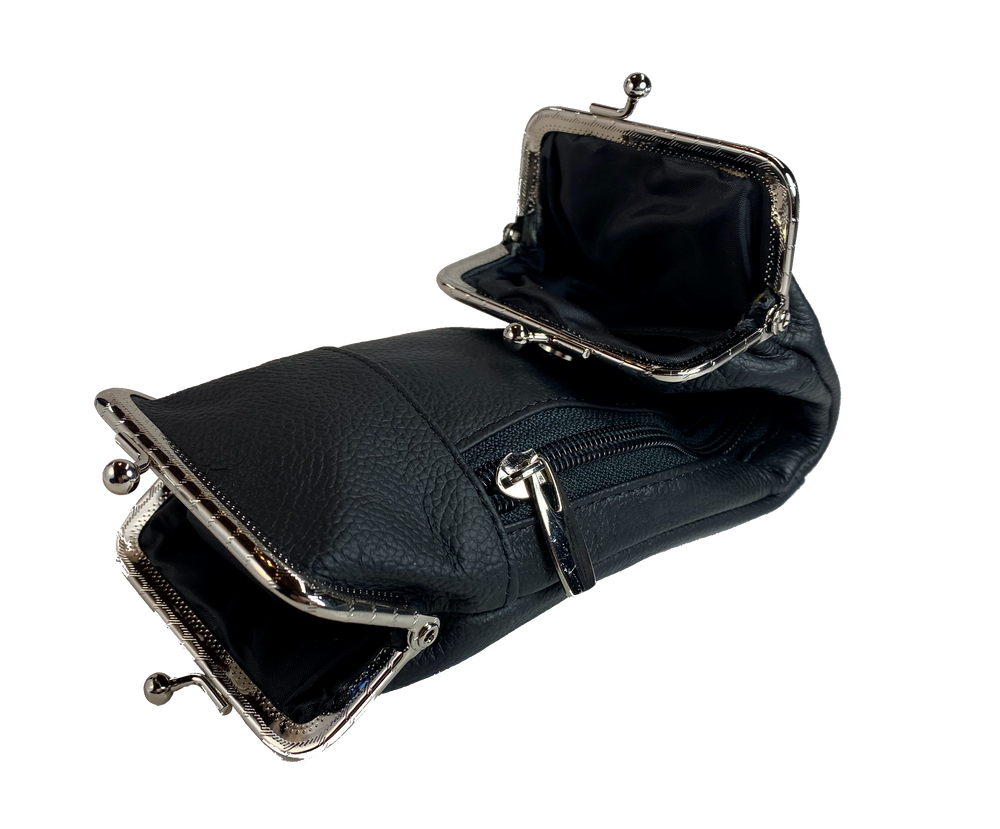 This is a versatile case, it has 2 pockets with clasp closures, plus a zippered hidden pocket. Great for lots of stuff in a small compact case. Choose solid Black or Earth tones. Since we buy these assorted we will send whichever browns we have in stock.