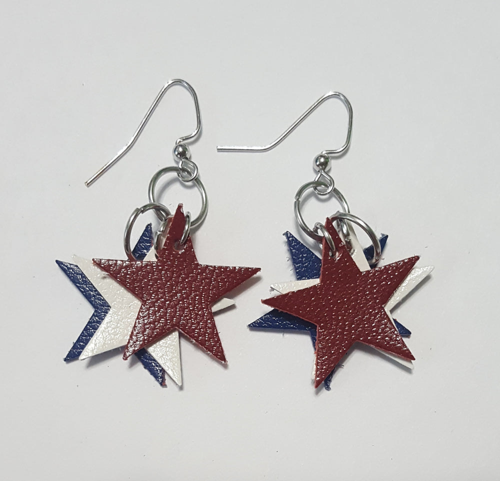 Stars Leather Earrings