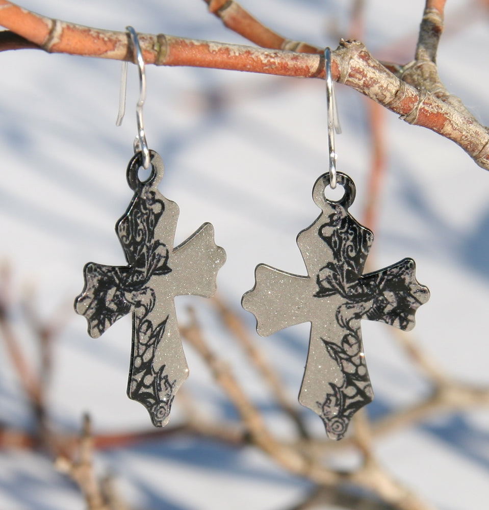Tattoo Cross Earrings