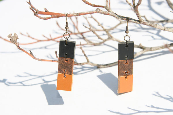 Tricolor Leather Earrings