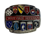 "Very Unique Viet Nam Belt Buckle with specific unit emblems. Made from pewter with enameled colors of each unit. Great as a gift or for yourself. Fits up 1 /2"" belts."