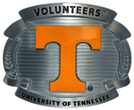 "Show everyone you are a SEC VOLS fan! Pewter with epoxy filled POWER orange T symbol of the University of Tennessee, A slightly oversized for the super fan! Fits any of our 1 1/2"" belts."