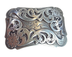 "A ornate Classic Western scroll design in Antique Nickle that looks great on plain 1 1/2"" Black or Brown belt. A easy to wear rectangle shape that's not too big. Not to cowboy or cowgirl just enough of the west. Imported"