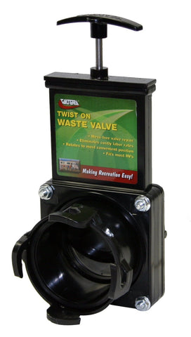 "Valterra T58 RV Twist-on 3"" Sewer Hose Waste Valve - Your RV Sewer Hose Storage Solution Experts"