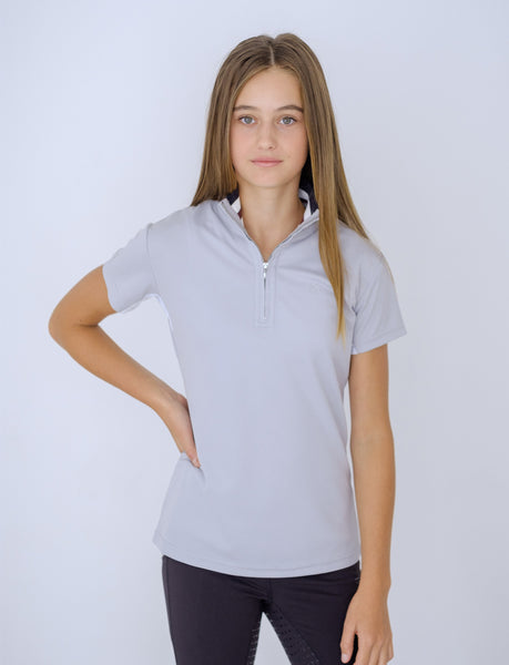 RIBBED COLLAR GREY POLO