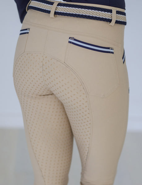 BEIGE BREECH WITH NAVY AND WHITE TAPE